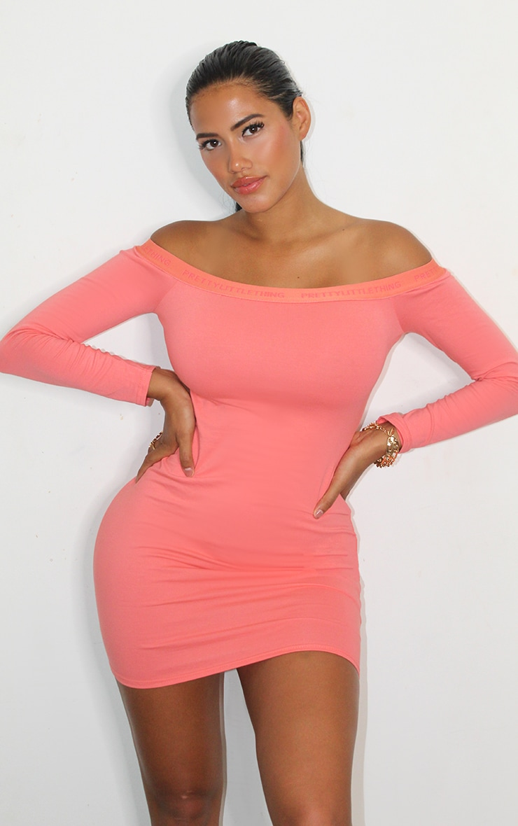PRETTYLITTLETHING Shape Coral Bardot Long Sleeve Bodycon Dress 1