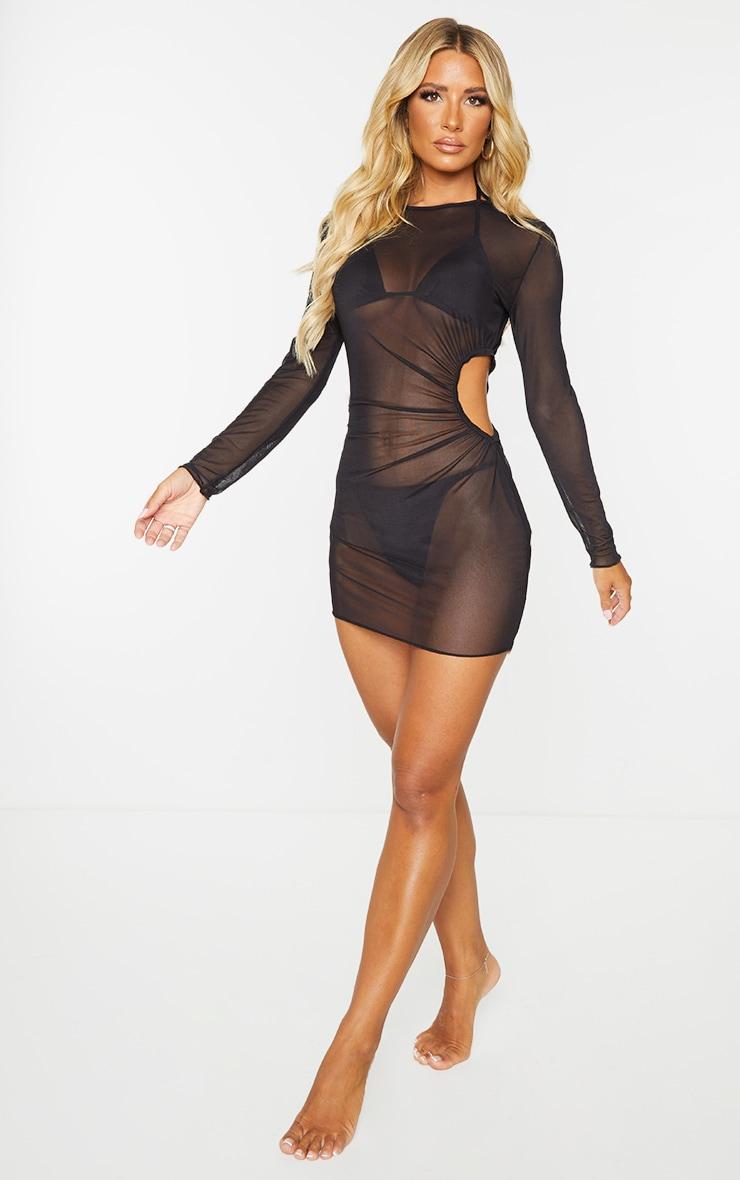 Black Long Sleeved Ruched Side Mini Mesh Beach Dress 3