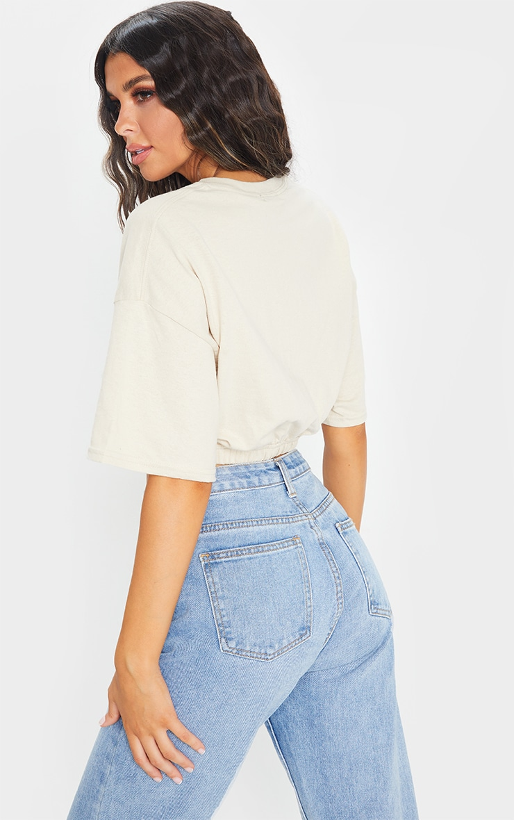 Sand Cropped T Shirt 2