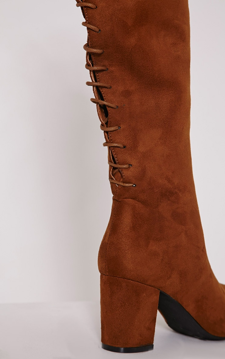 Sharan Tan Faux Suede Laced Up Boots 6