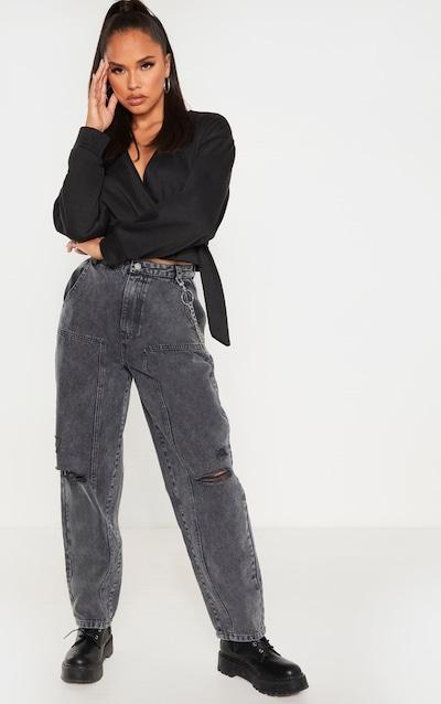 Washed Grey Baggy Cargo Boyfriend Jeans