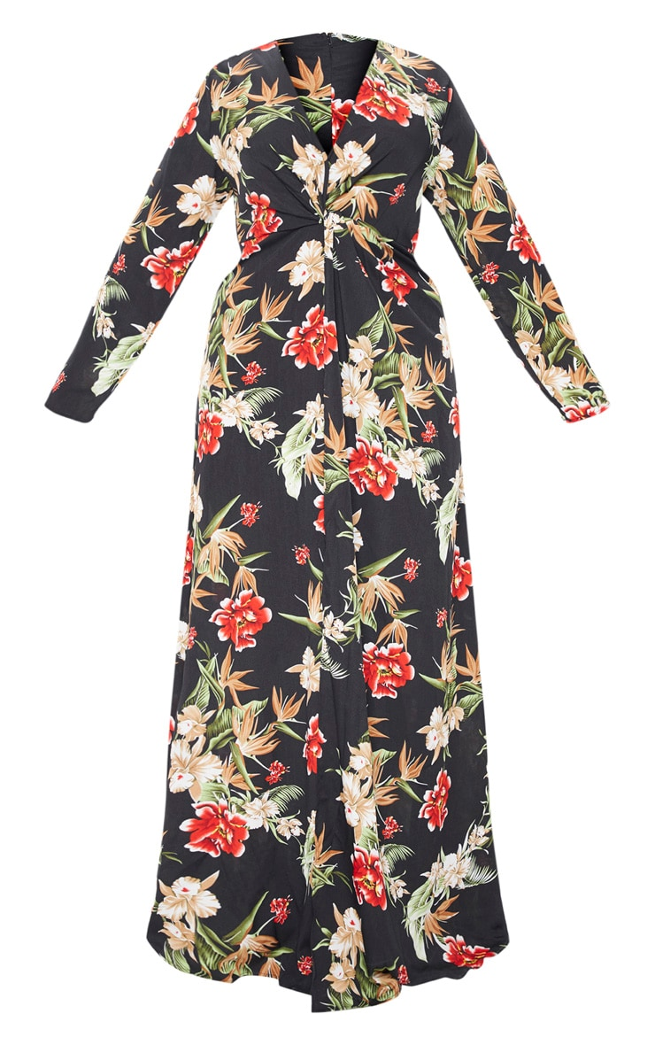 Plus Black Floral Twist Front Maxi Dress 3