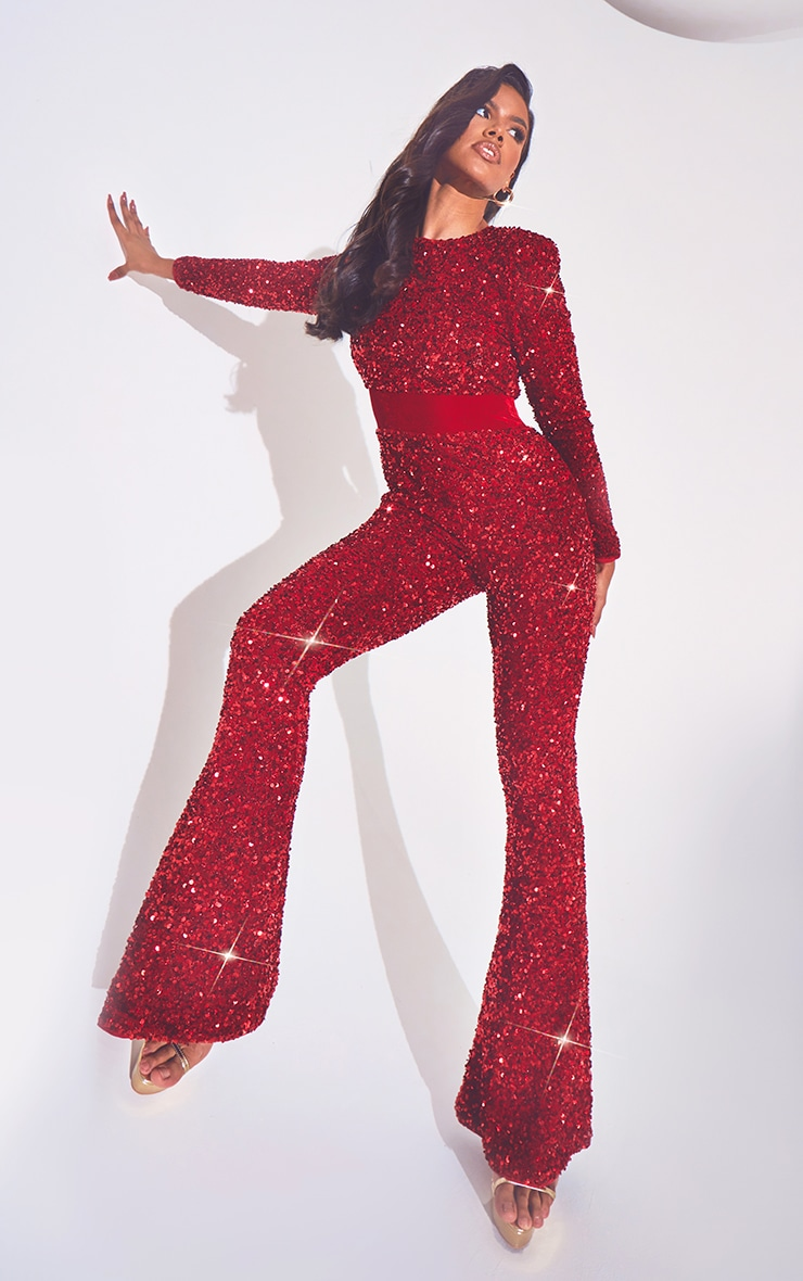 Red Premium Velvet Sequin Shoulder Pad Jumpsuit 3