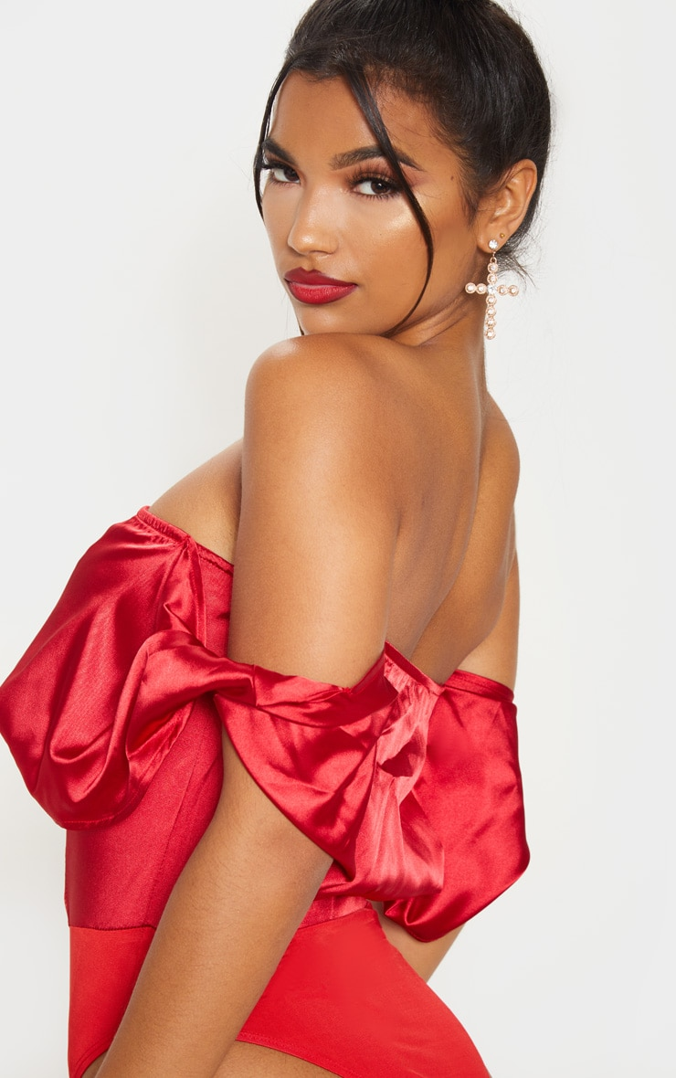 Red Satin Bardot Bodysuit 6
