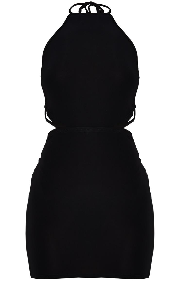 Black Slinky Halterneck Waist Cut Out Bodycon Dress 5