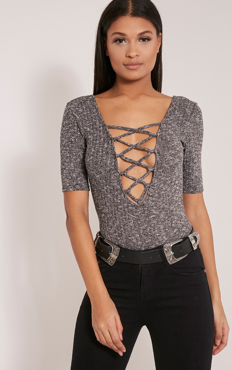 Orla Grey Lace Up Front Knit Bodysuit 1