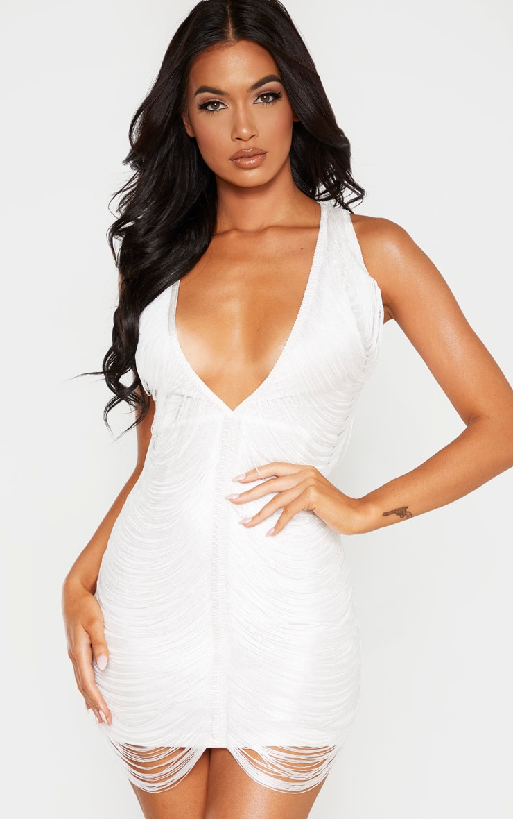 White Extreme Plunge Tassel Bodycon Dress 1