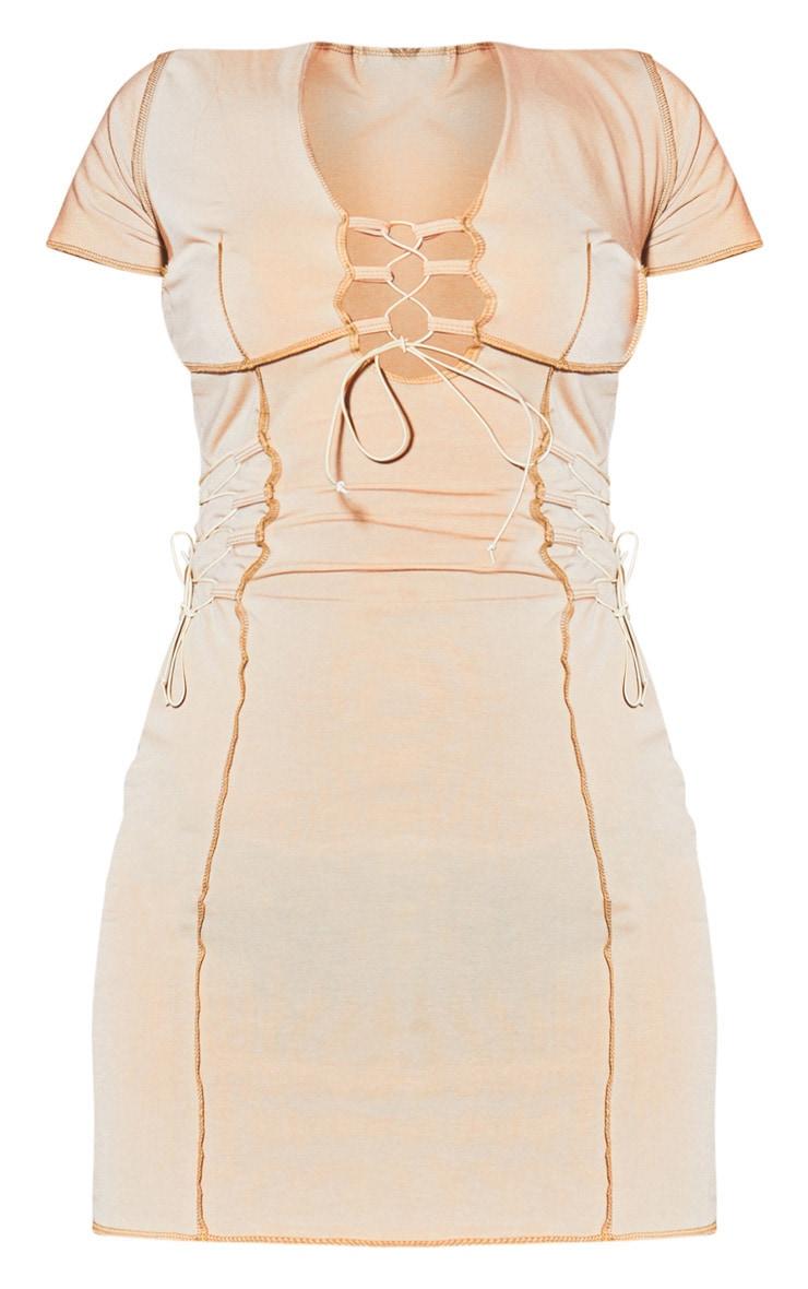 Stone Contrast Stitch Lace Up Detail Bodycon Dress 5