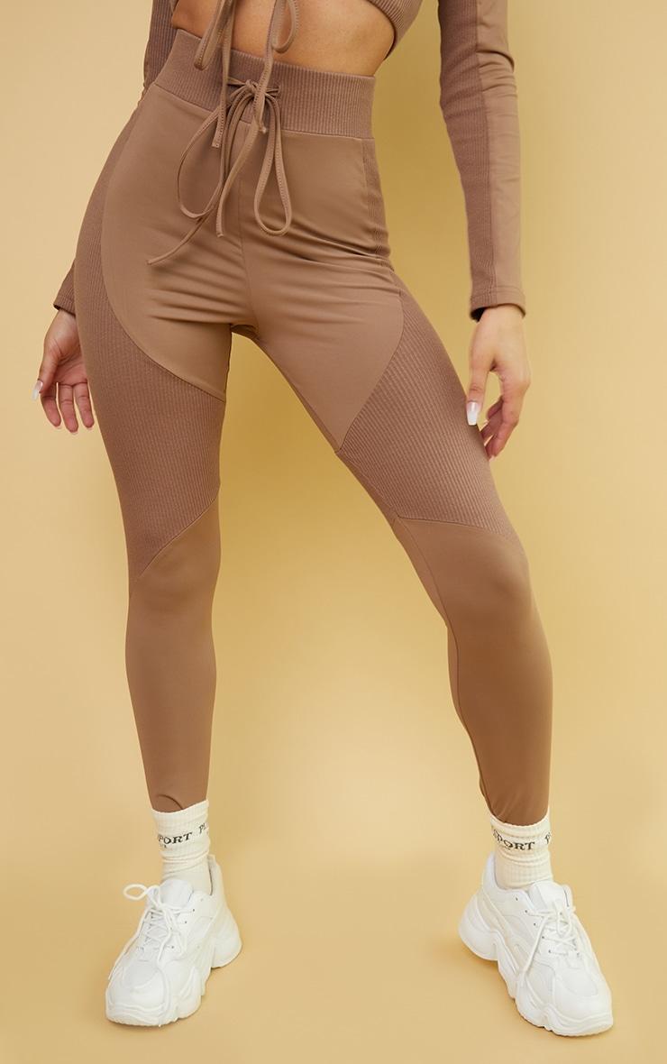 Brown Rib Detail Tie Front High Waist Gym Leggings 2
