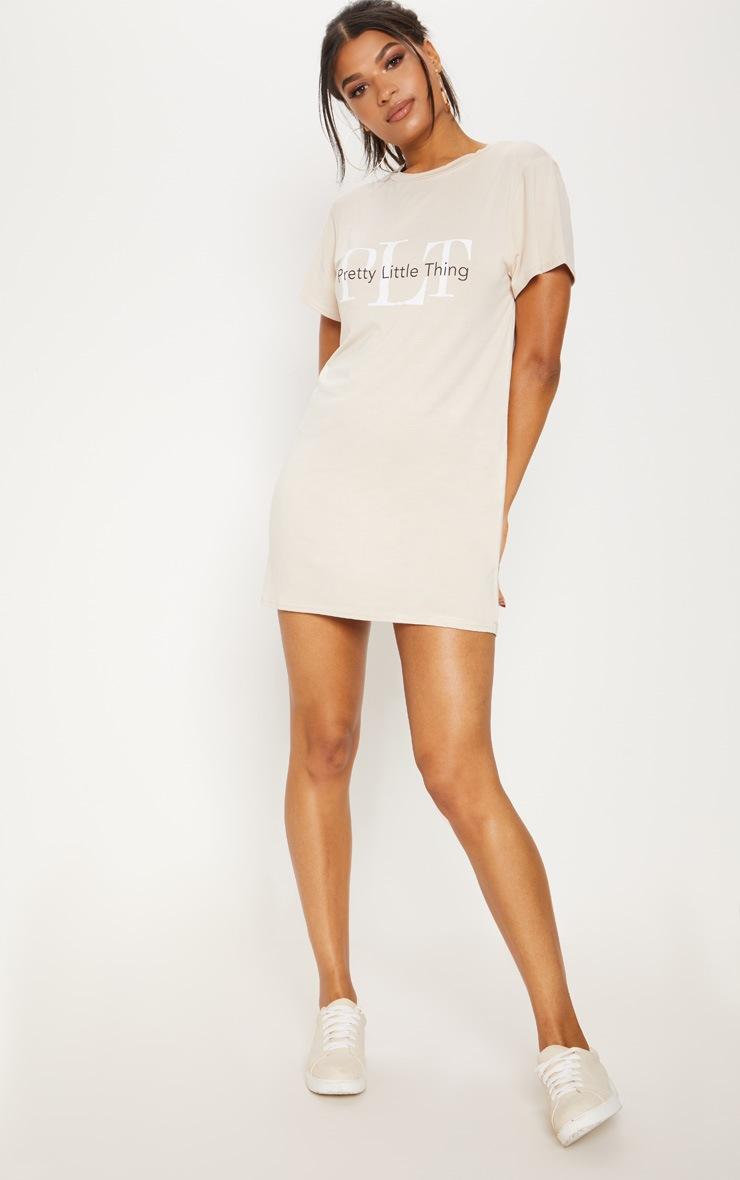PRETTYLITTLETHING Sand Mirrored T Shirt Dress 5