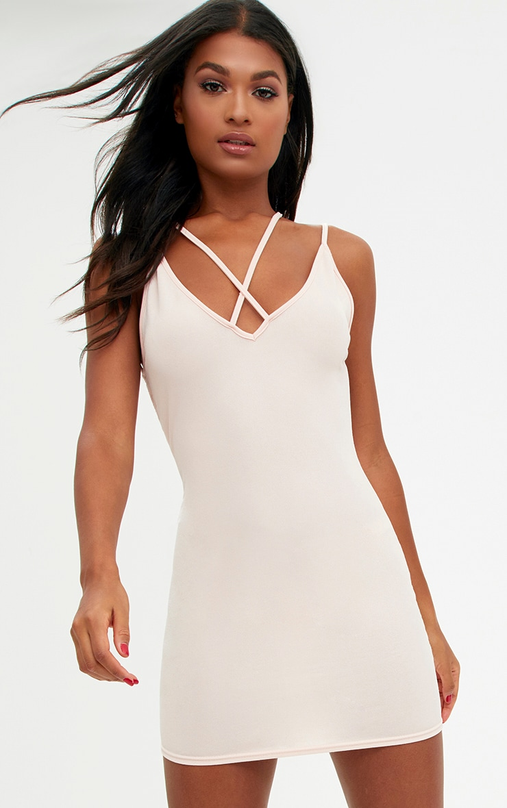 Nude Strap Detail Low Back Bodycon Dress 1