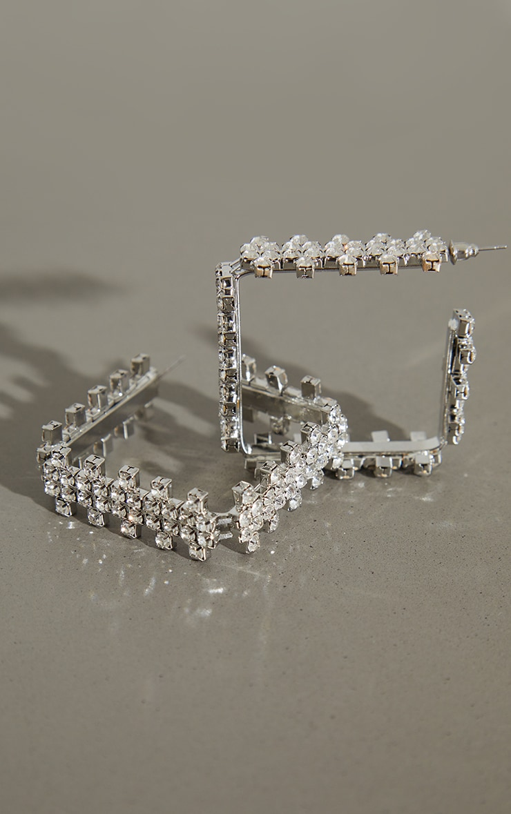 Silver Diamante Chunky Mini Square Hoop Earrings 3