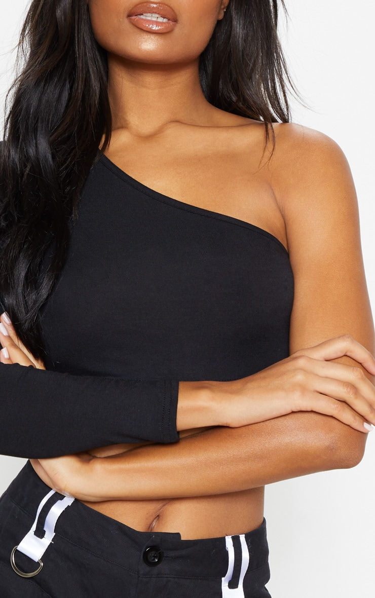 Black Jersey One Shoulder Crop Top 5