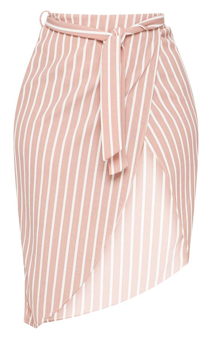 Plus Nude Striped Tie Waist Midi Skirt 3
