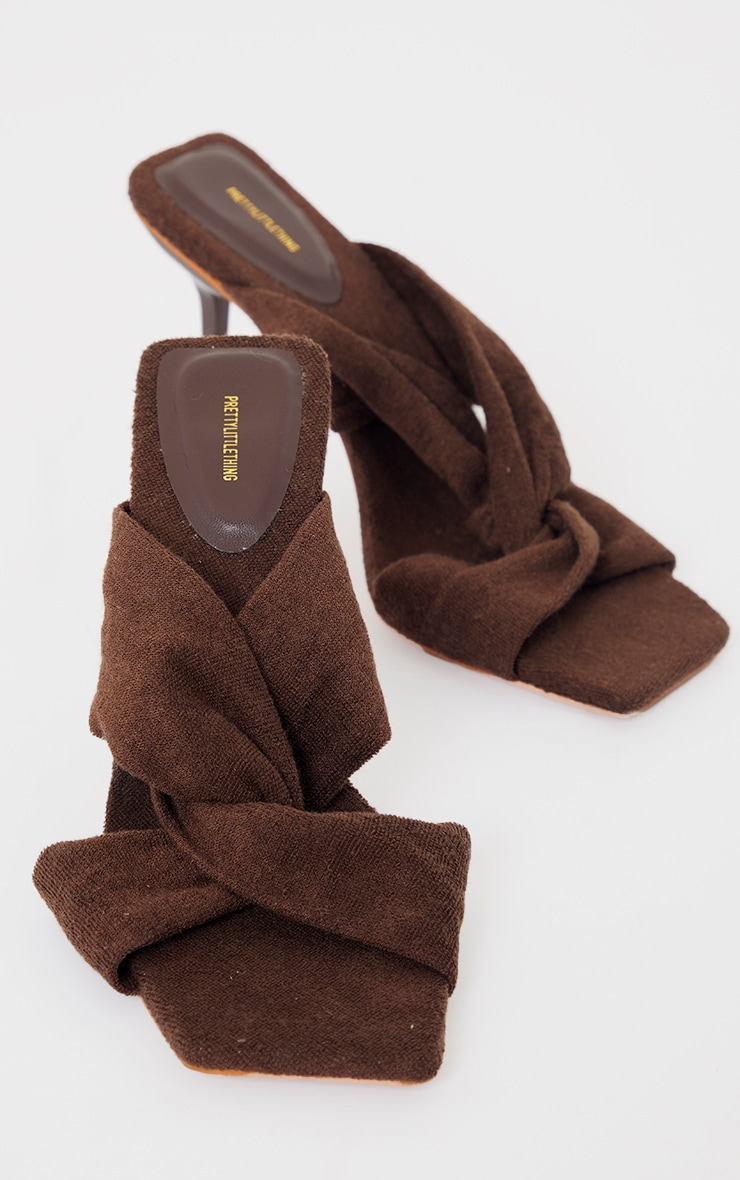 Chocolate Towelling Square Toe Knot Detail High Heeled Mules 3