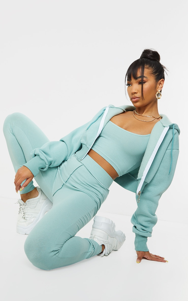 Light Blue Double Zip Through Cropped Hooded Jacket 3