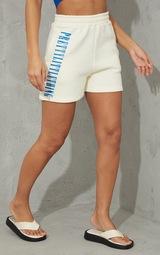 PRETTYLITTLETHING Cream Vertical Sweat Shorts 2
