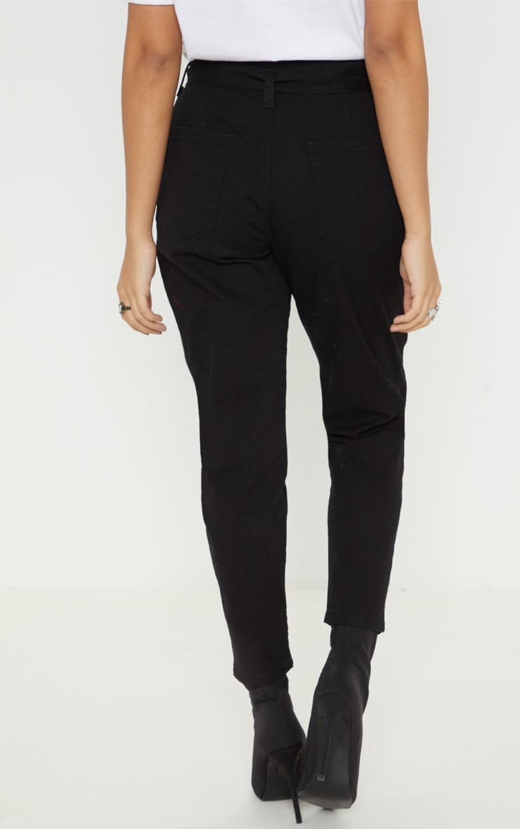 Petite Black Belted Mom Jeans 4