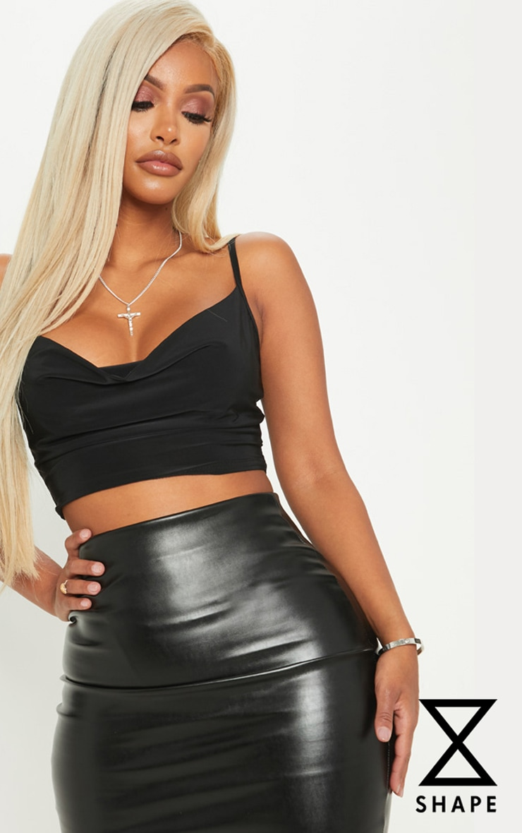 Shape Black Slinky Cowl Neck Crop Top 1