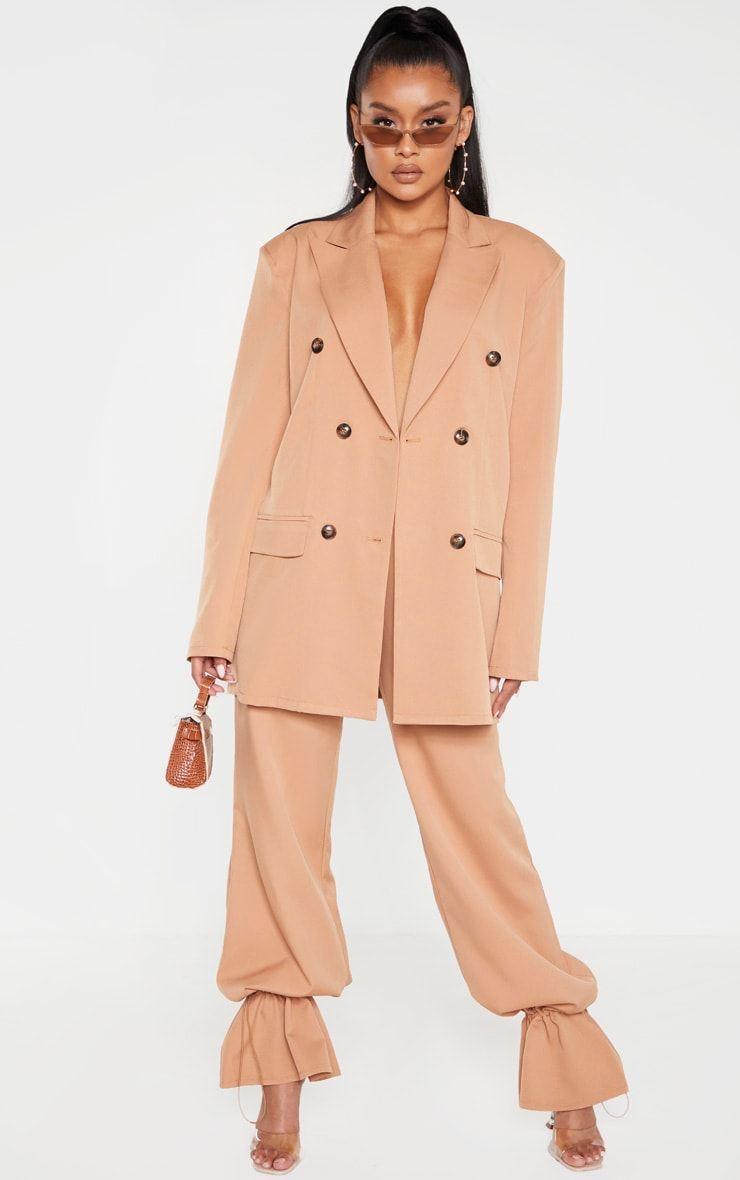 Camel Woven Oversized Longline Button Detail Blazer 6