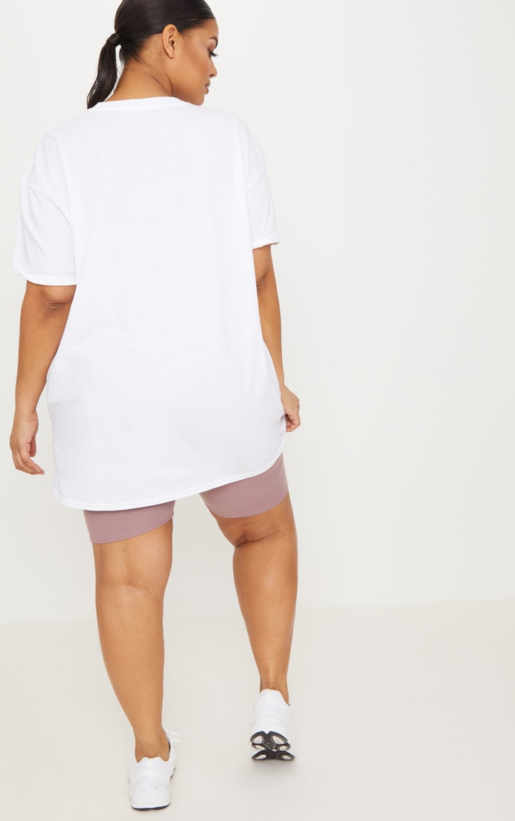 Plus White Oversized Boyfriend T Shirt  2