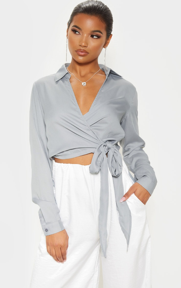 Lead Grey Avalyn Wrap Front Tie Side Blouse 1