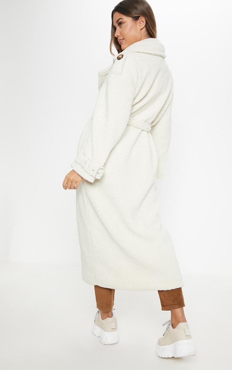 Cream  Borg Oversized Belted Coat 2