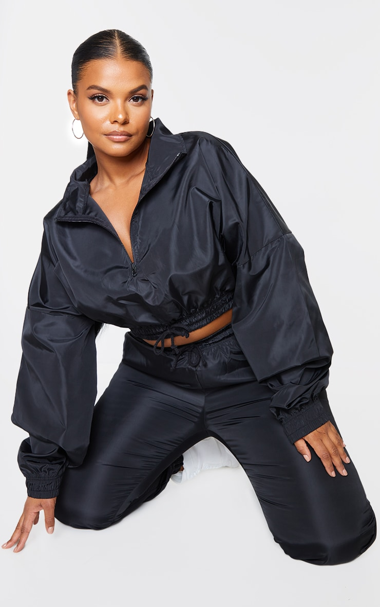 Plus Black Shell Half Zip Jacket 3