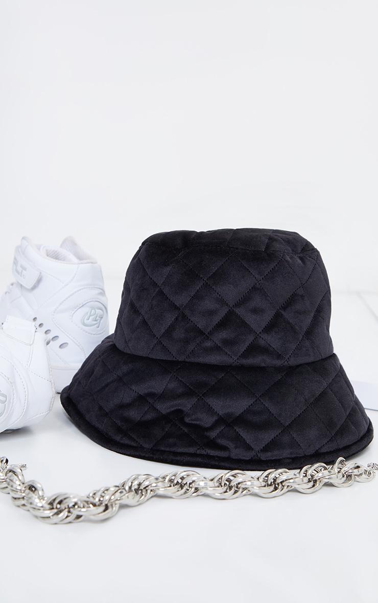 Black Quilted Velour Bucket Hat 2