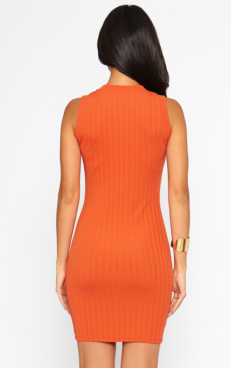 Stefany Orange Ribbed Mini Dress 3
