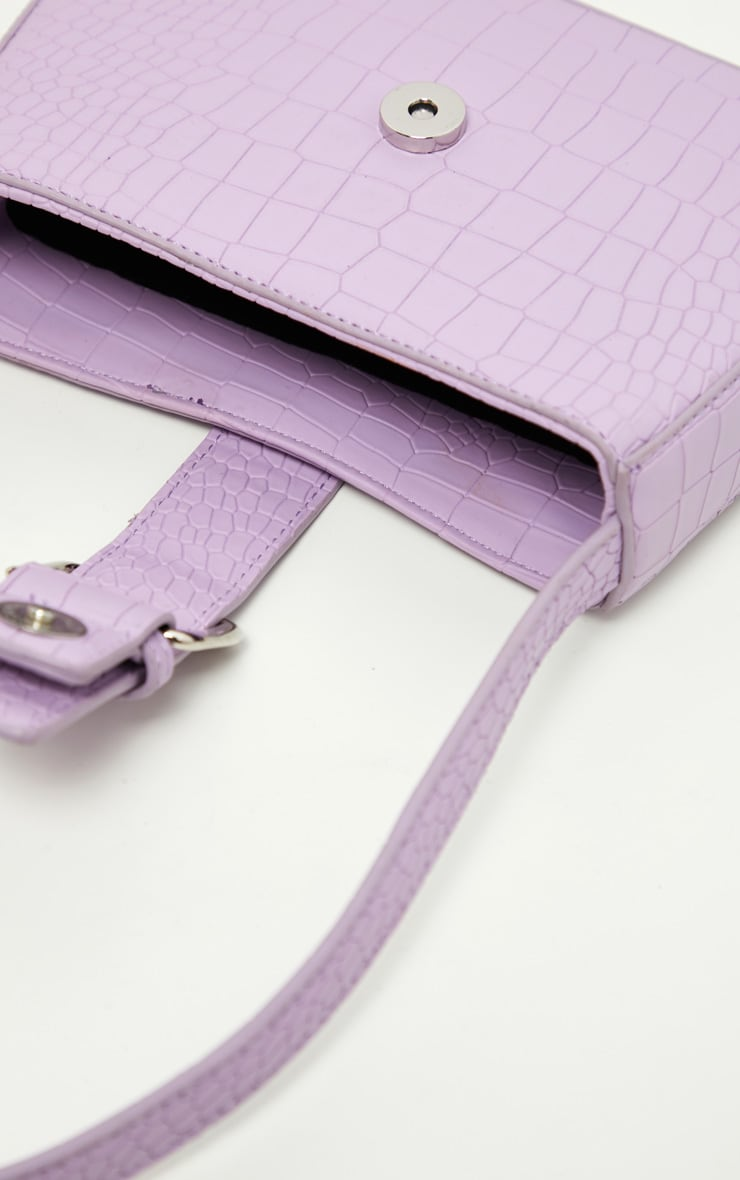 Lilac Croc Buckle Front Shoulder Bag 4