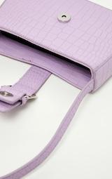 Lilac Croc Buckle Front Shoulder Bag 4