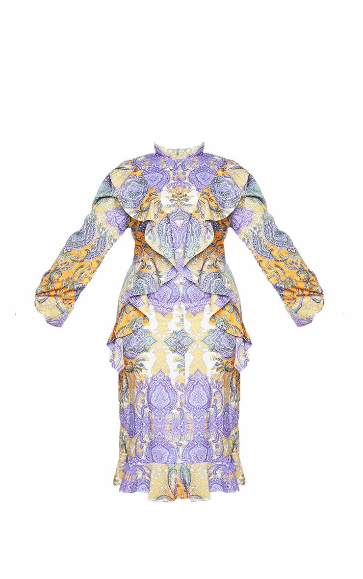 Plus Multi Paisley Printed Frill High Neck Midi Dress 5