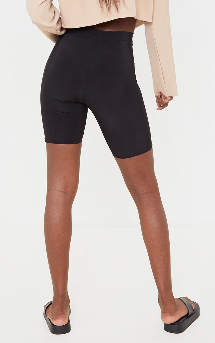 Tall Black Slinky High Waisted Cycle Shorts 3