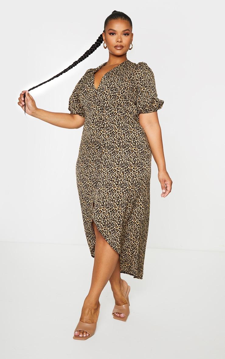 PLT Plus - Robe longue marron imprimé léopard boutonnée à manches ballon 1