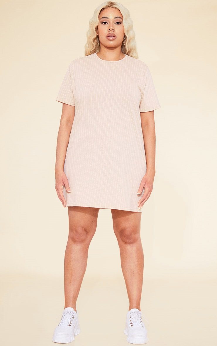 RECYCLED Plus Deep Nude Pinstripe T Shirt Dress 4