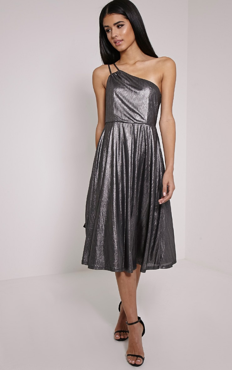 Stephy Silver Metallic Skater Dress 3