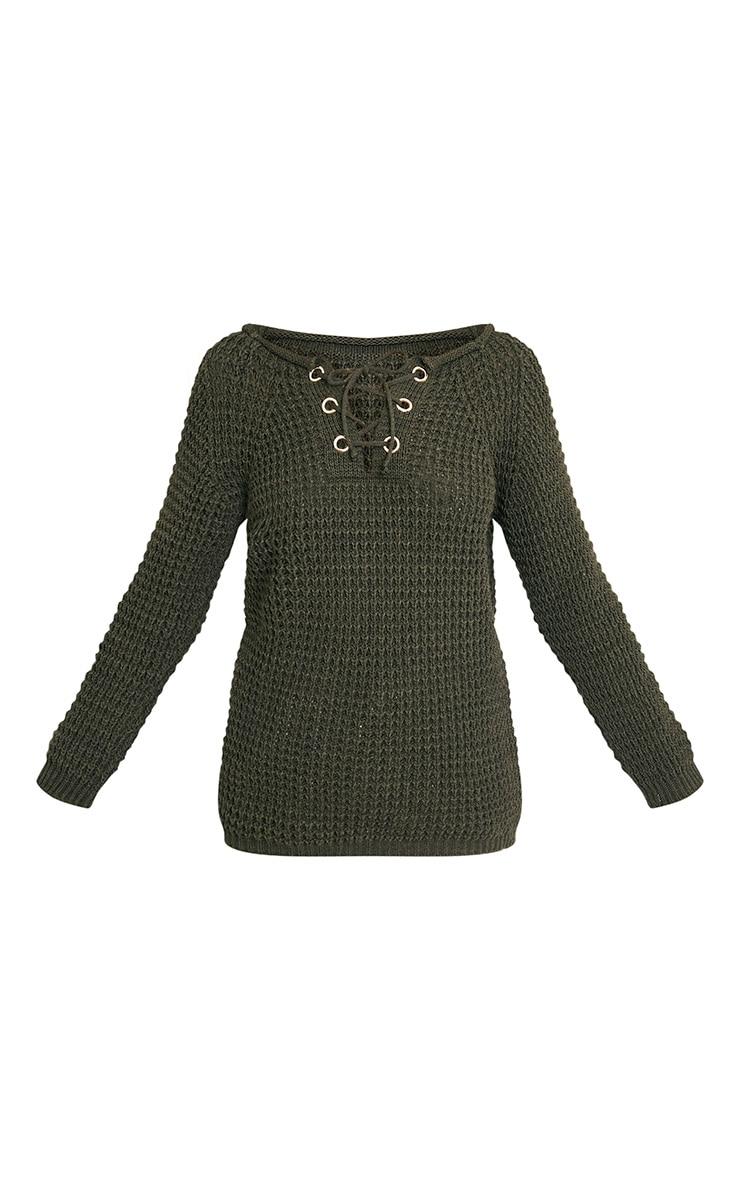 Haidyn Khaki Lace Up Knitted Jumper 3