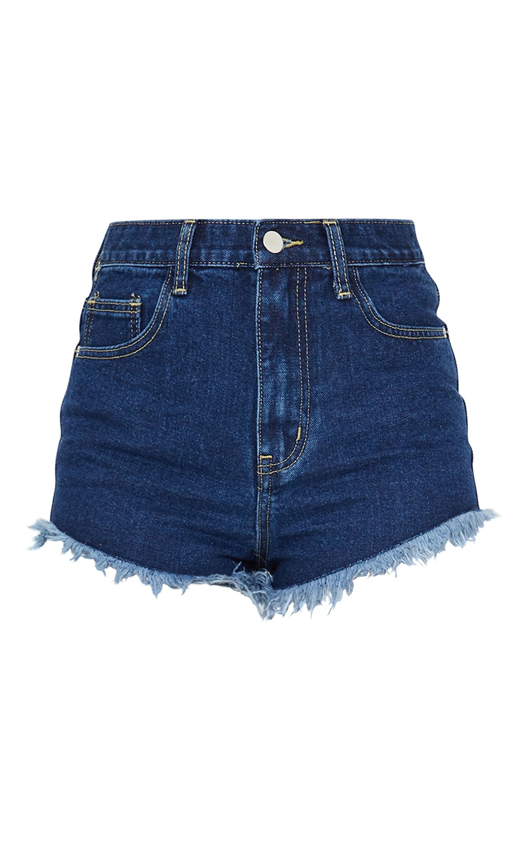 PRETTYLITTLETHING Dark Blue Wash Frayed Hem Denim Shorts 6