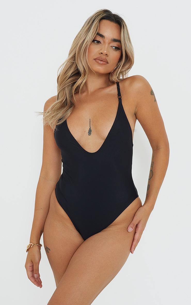 Petite Black  Basic Low Scoop Swimsuit 1