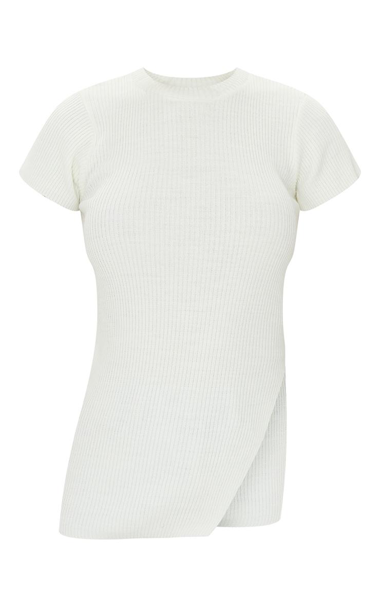 Cream Asymmetric Hem Short Sleeve Top 5