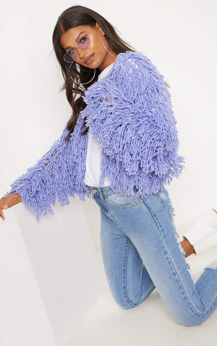 Lilac Shaggy Knit Cropped Cardigan 1