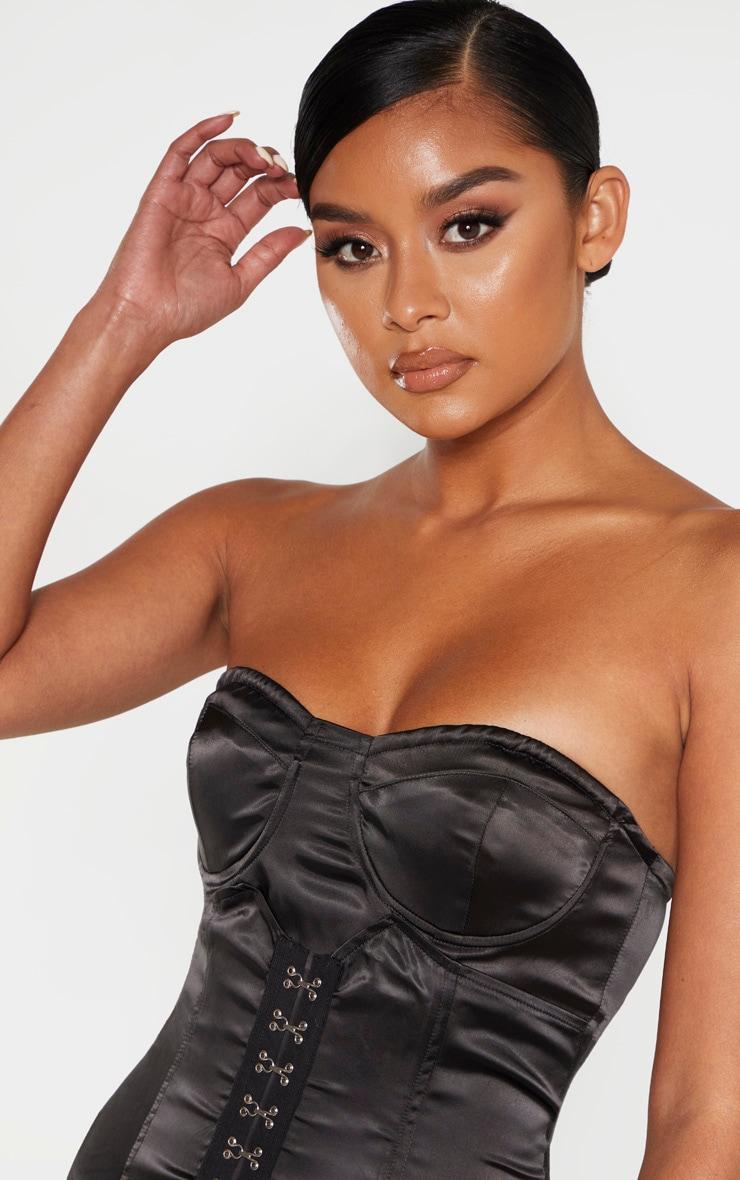 Black Bandeau Hook & Eye Corset Detail Bodycon Dress 5