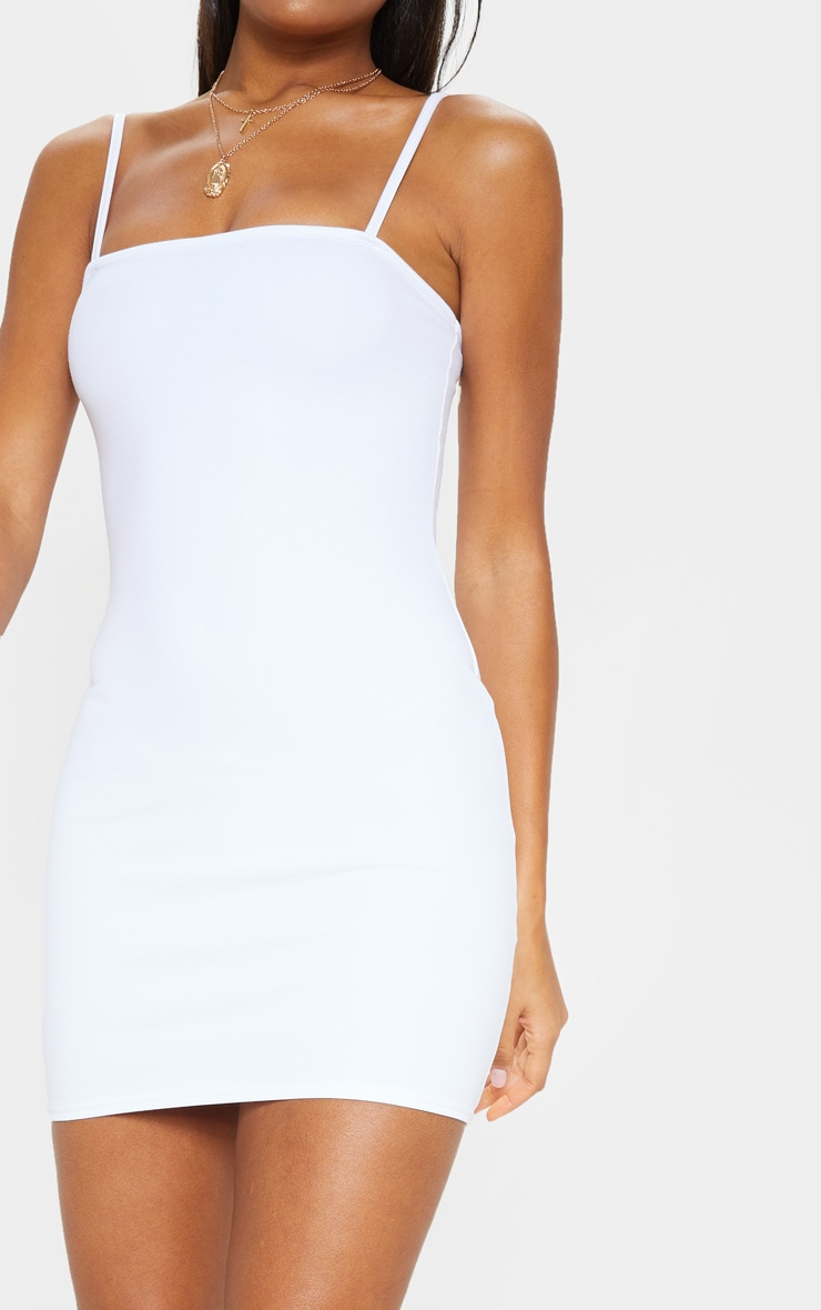 Desri White Straight Neck Bodycon Dress 5