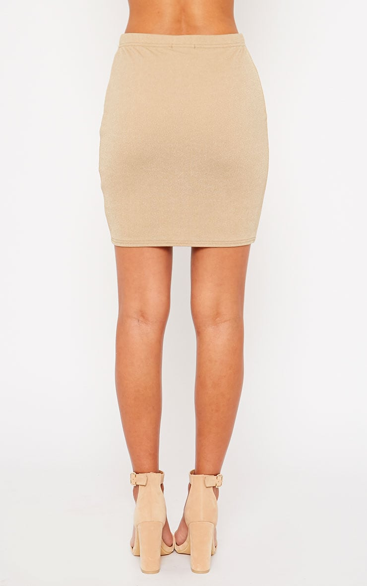 Emilia Beige Crepe Mini Skirt 4