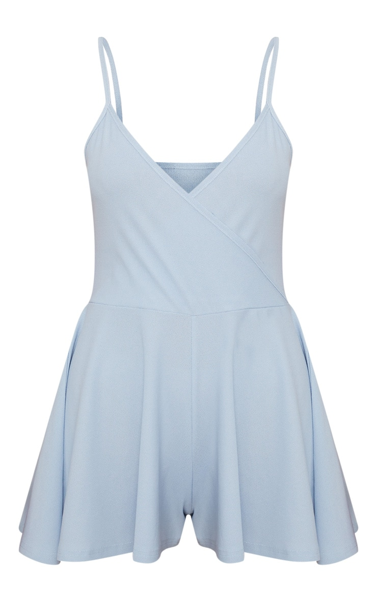 Powder Blue Crepe Strappy Wrap Playsuit 3