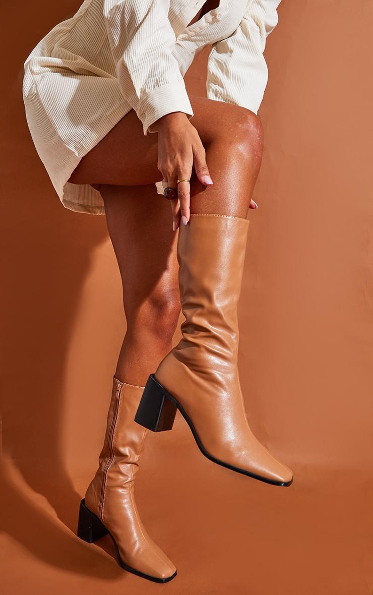 Tan Block Heel Knee Boots 2