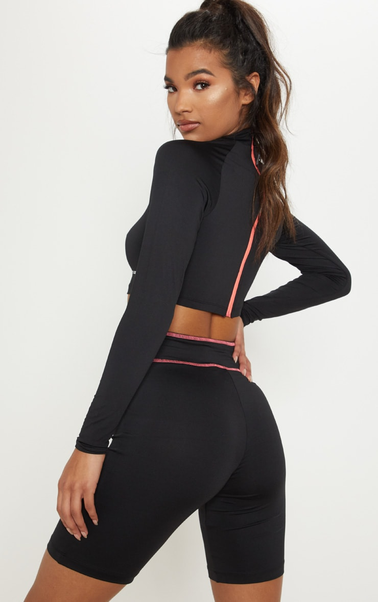 PRETTYLITTLETHING Long Sleeve Black Zip Back Gym Top 2