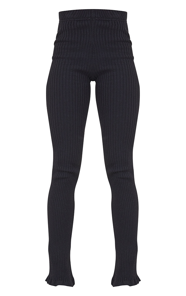 Black Ribbed Knitted Flare Trousers 5