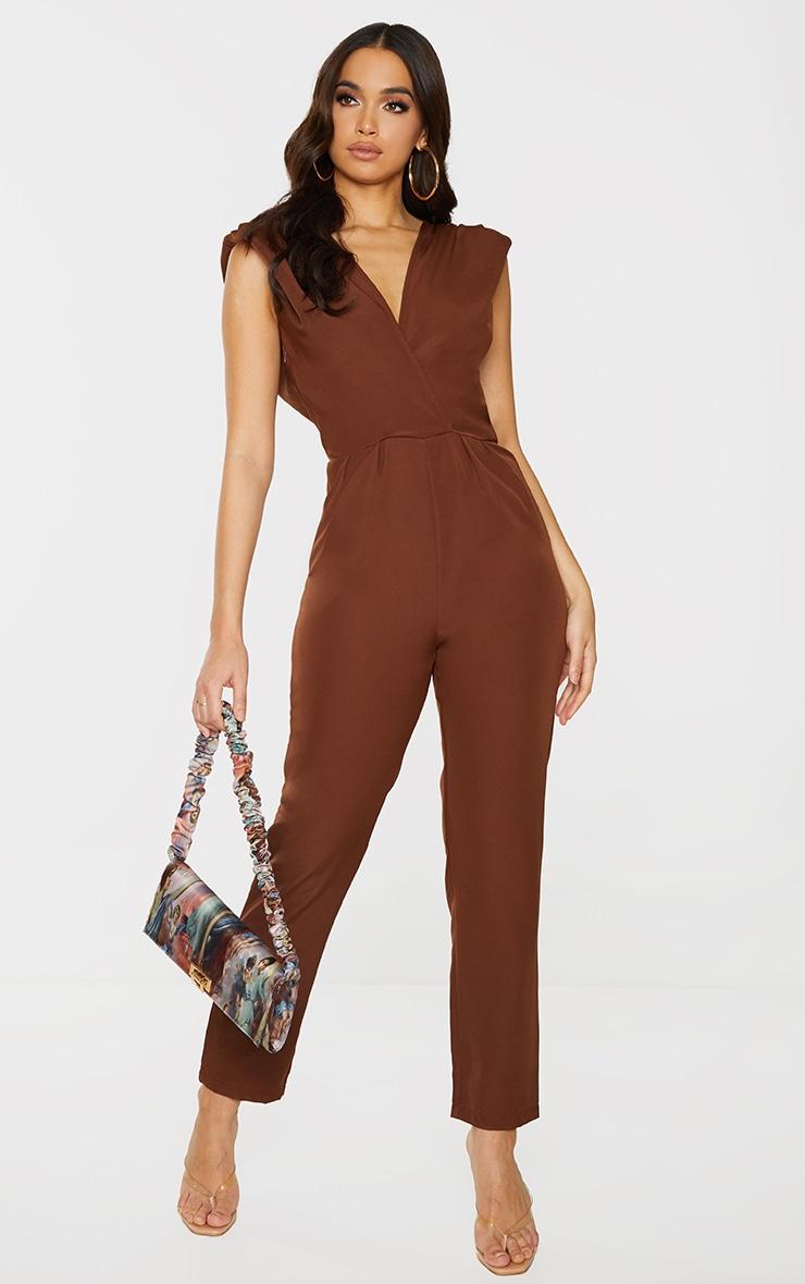 Chocolate Shoulder Pad Wrap Woven Jumpsuit 1